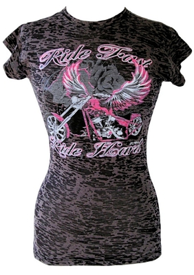 ladies burn out t shirts