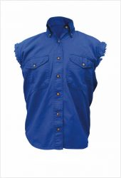 mens blue sleeveless denim shirt