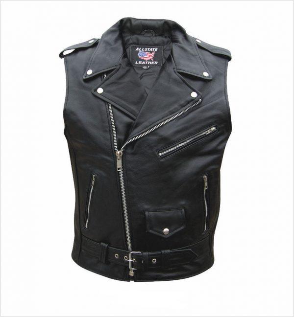 mens sleeveless leather jacket