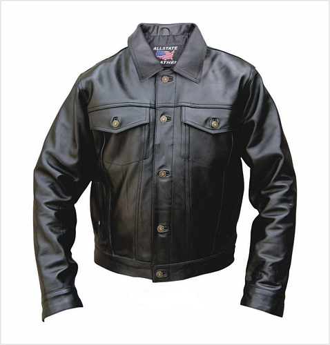 mens denim style leather jacket