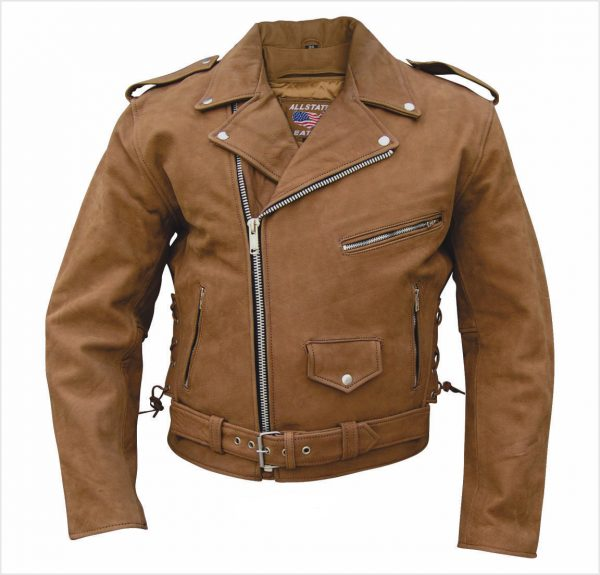 brown buffalo hide leather jacket