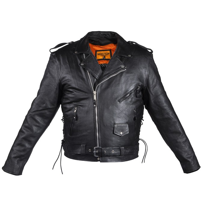 e282bdbd59c Mens Naked Cowhide Leather Motorcycle Jacket W Side Laces MLSJ10 ...