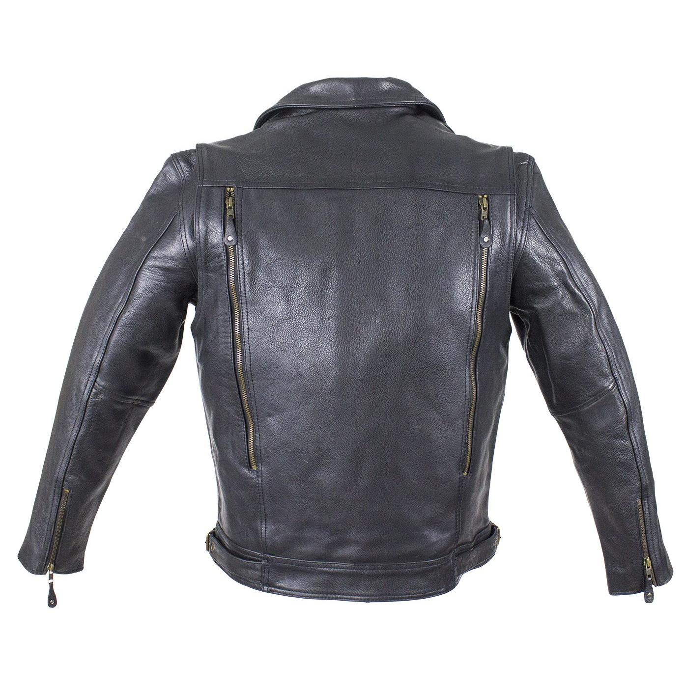 Mens Top Grain Naked Leather Racing Motorcycle Jacket