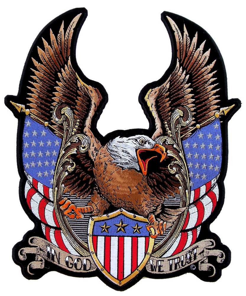 Patriotic Eagle American Flags In God We Trust Embroidered Biker Patch Leather Supreme