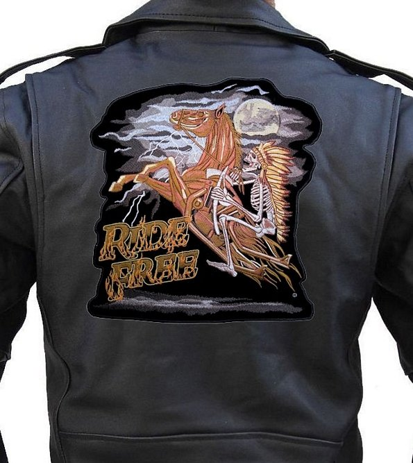 Leather Supreme Mens Denim Shirt Ride Free Indian Chief On Horse Biker Patch