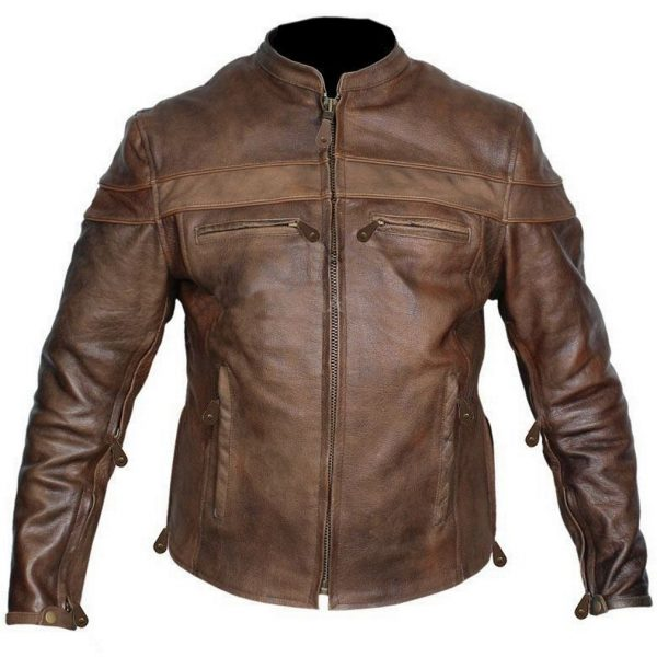 Men's brown leather biker apparel