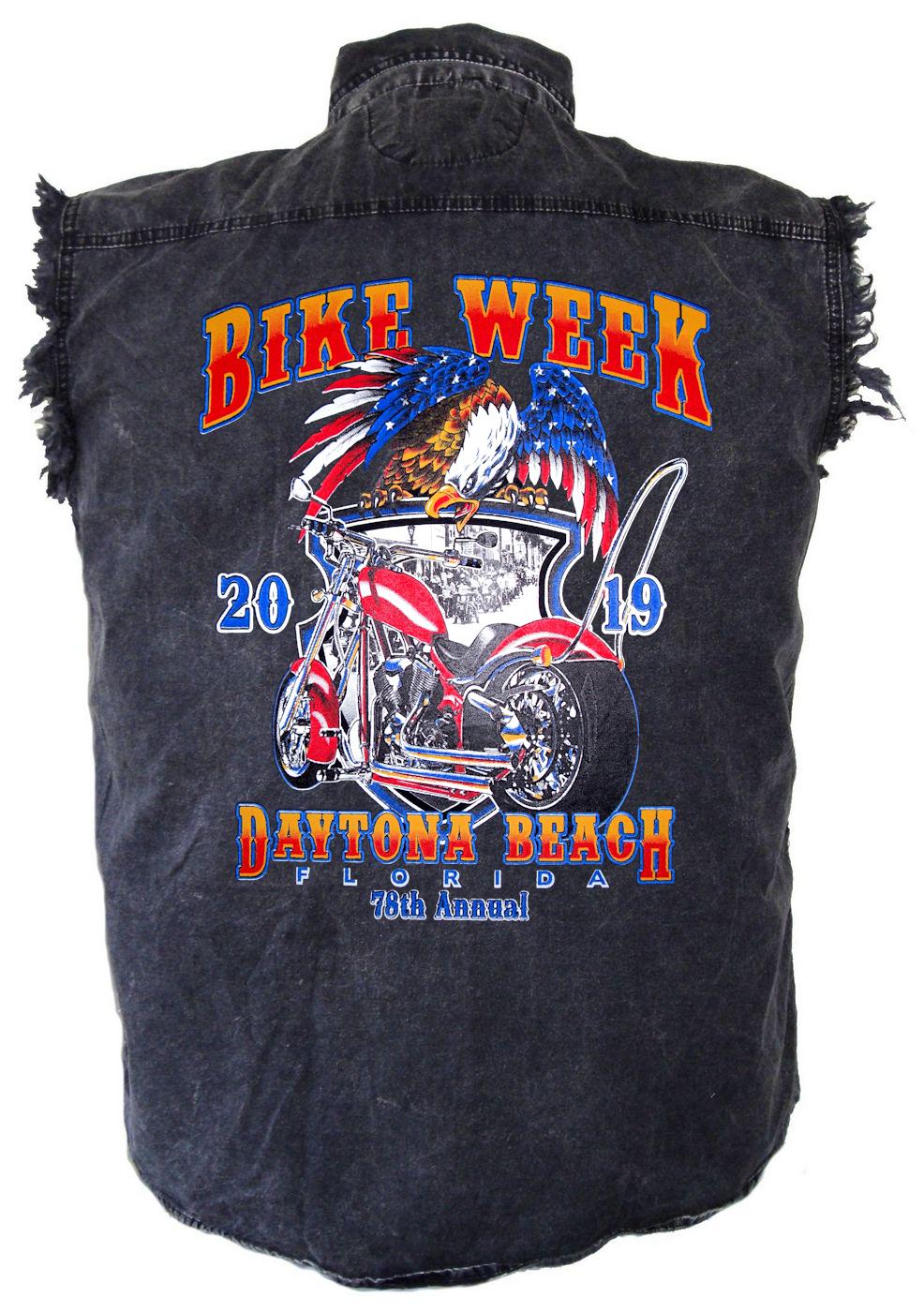 Mens Stonewash Daytona Beach Bike Week 2019 Motorcycle