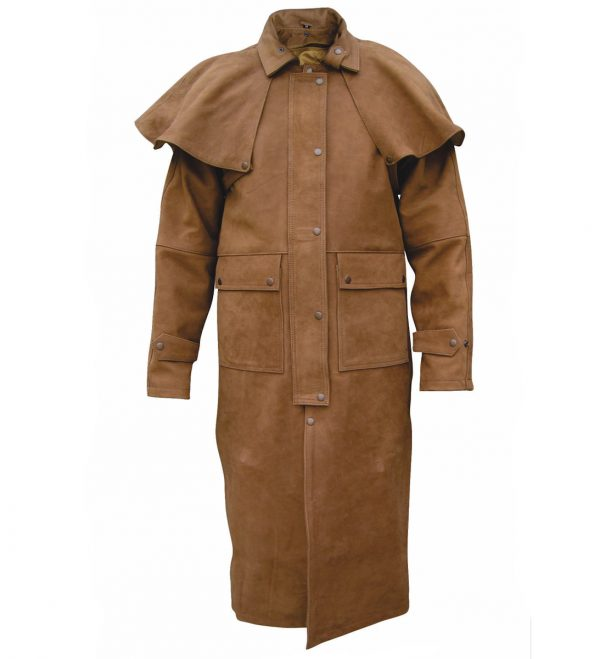 Brown buffalo hide leather duster