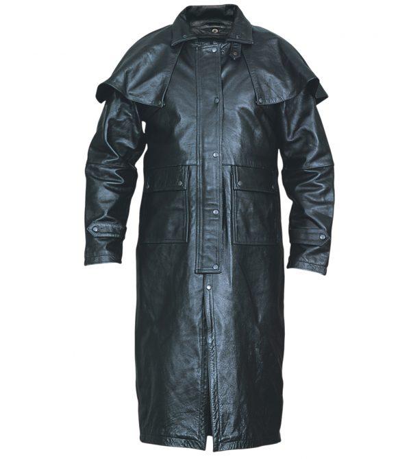 Black leather motorcycle duster jacket