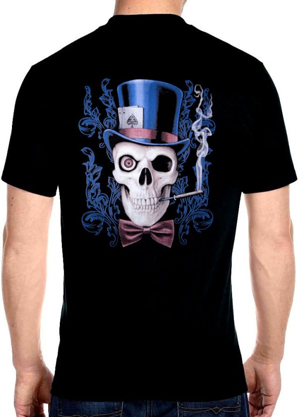 758b0ae2e Mens Hanes Skull Top Hat With Playing Cards Biker T-Shirt Design 2