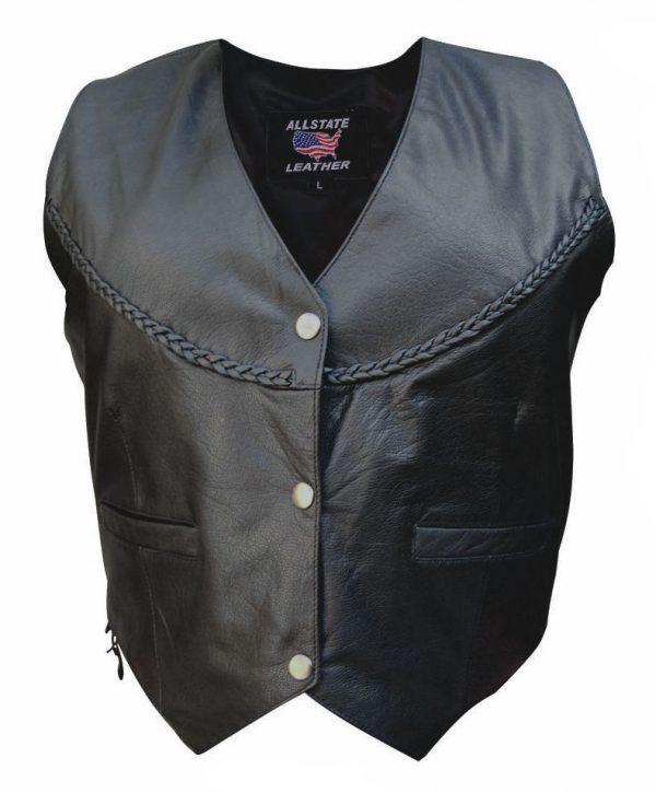 Ladies leather jacket with braid