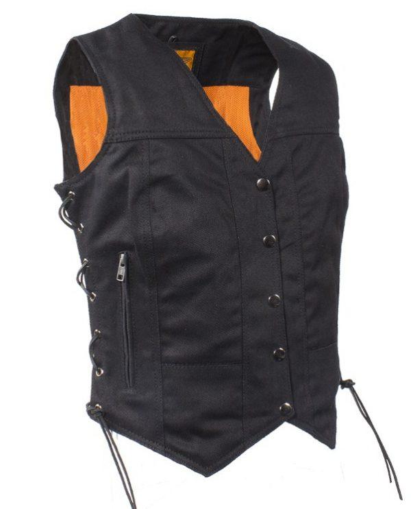 Ladies black denim vest