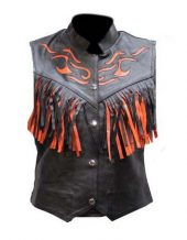 ladies orange flame and fringe leather vest