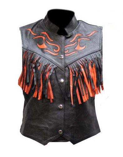 ladies orange flame and fringe leather vest