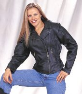 ladies top grain cowhide leather motorcycle jacket