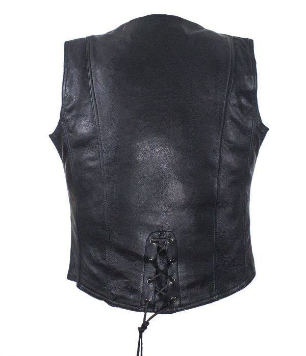 ladies black leather vest with snaps