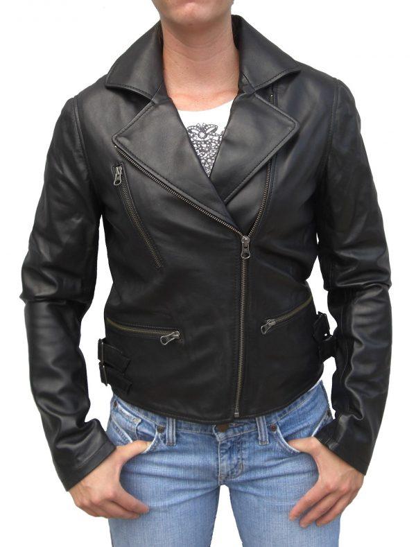 womens leather lambskin motorcycle jacket