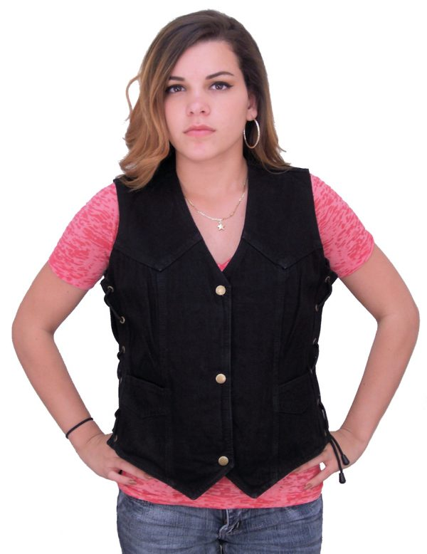 Women's black denim vest