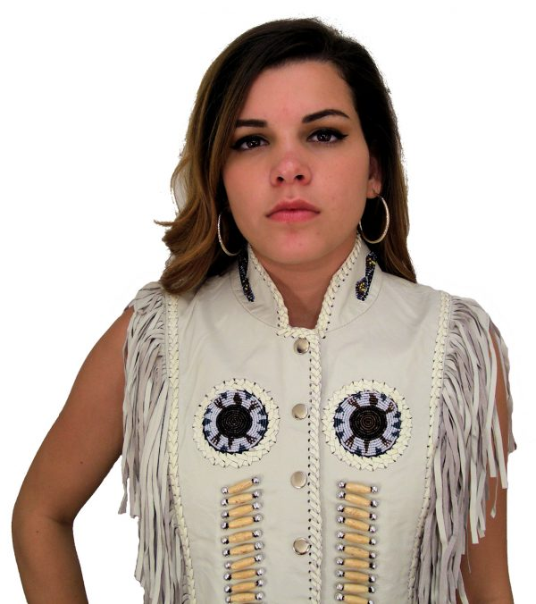 ladies white fringe leather vest