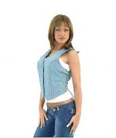 Ladies leather blue vest