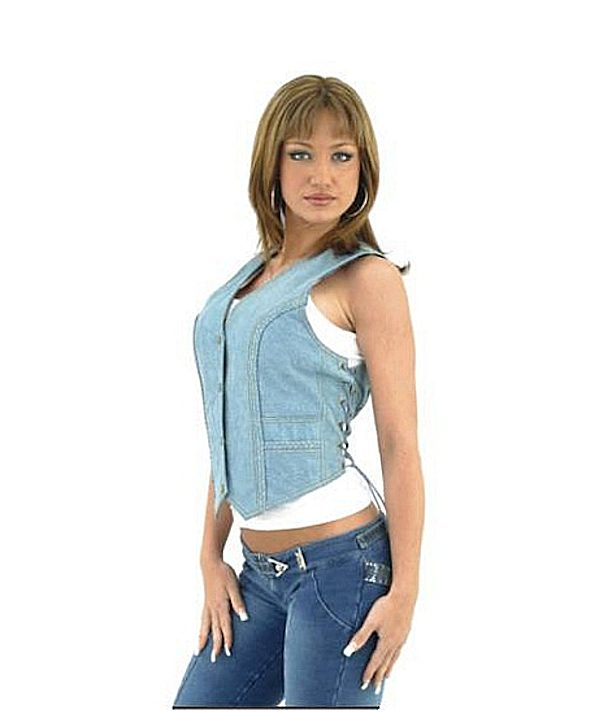 Ladies leather blue vest