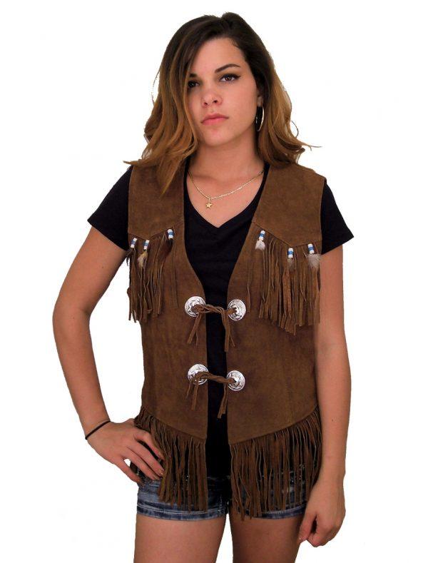 Women's brown suede fringe vest