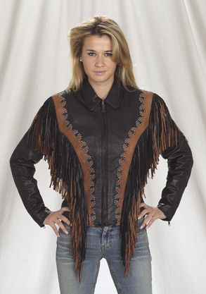 ladies fringed motorcycle jacket