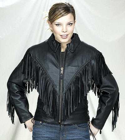 womens leather jacket fringe and braid