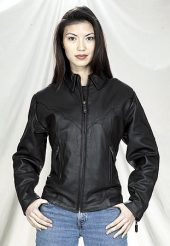 womens leather motorcycle jacket zippered cuffs