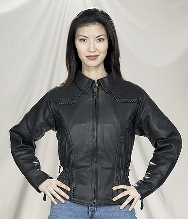 ladies naked cowhide leather motorcycle jacket