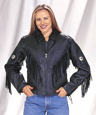 ladies leather fringe jacket