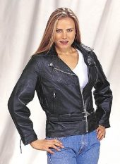 ladies classic leather motorcycle jacket