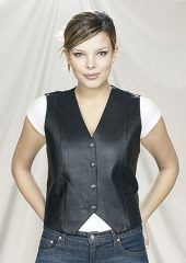 ladies leather vest with snaps