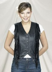 womens leather vest with fringe