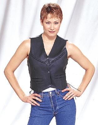 ladies black leather vest with braid
