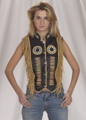 ladies leather vest with beads and fringe