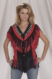 ladies red fringe leather vest