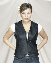 ladies leather zippered vest