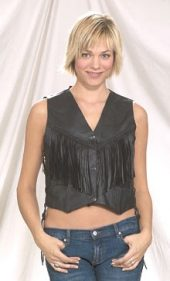 ladies leather vest with braid