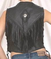 ladies leather vest with braid and fringe