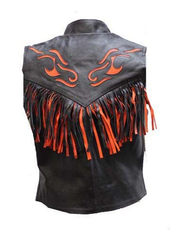ladies flame and fringe leather vest