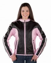 Ladies pink and black leather jacket