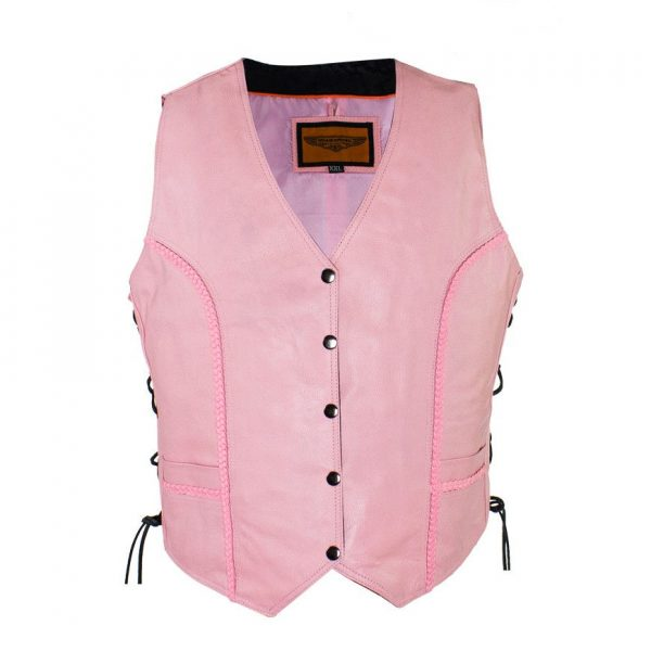 ladies pink leather vest side laces