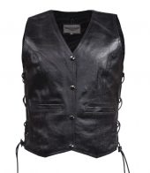 Womens black leather vest