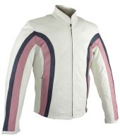 Ladies white and pink leather jacket