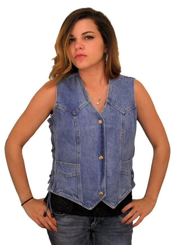 Ladies blue denim vest