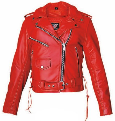 top quality ladies red cowhide leather motorcycle jacket