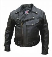 mens black vented leather motorcycle jacket
