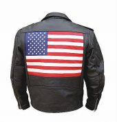 mens leather jacket with USA flag