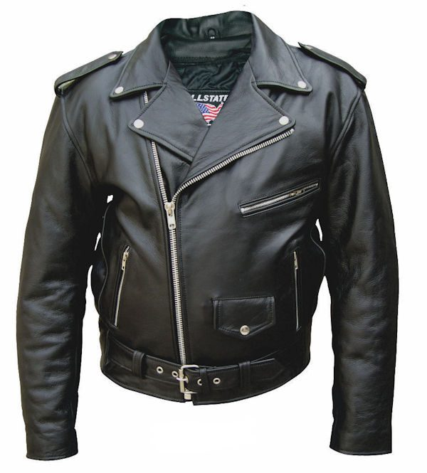 mens leather jacket with USA flag front